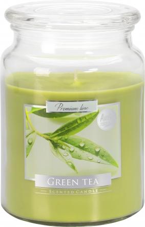 Duża świeca Zielona Herbata w szkle z wieczkiem snd99-83