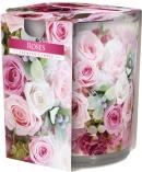 Świeca zapachowa Róże w prostym szkle z wzorem sn72s-02