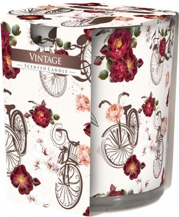 Świeca zapachowa Vintage w prostym szkle z wzorem sn72s-05