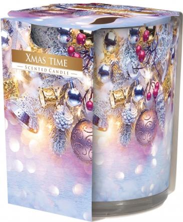 Świeca zapachowa Świąteczny Czas w prostym szkle z wzorem sn72s-01