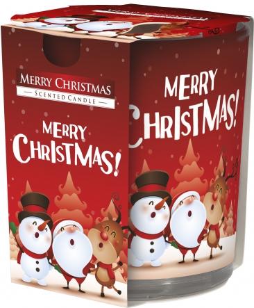 Świeca zapachowa Wesołych Świąt w prostym szkle z wzorem sn72s-09