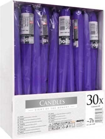 Świece stołowe stożkowe zestaw 30 szt. fioletowy s30-1-040