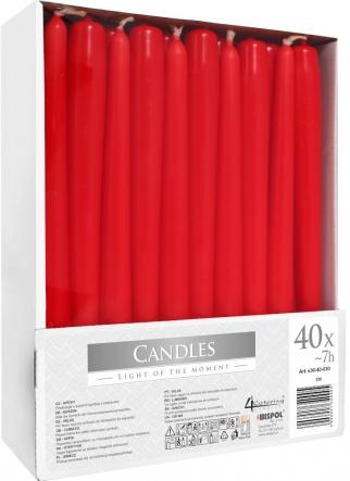 Świece stołowe stożkowe zestaw 40 szt. czerwony s30-40-030