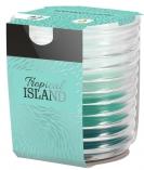 Świeca zapachowa trójkolorowa w karbowanym szkle Tropikalna Wyspa snw80-274