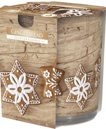 Świeca zapachowa Gingerbread w prostym szkle z wzorem sn72s-23