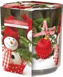 Świeca zapachowa Wesołe Święta w prostym szkle z wzorem sn72s-25