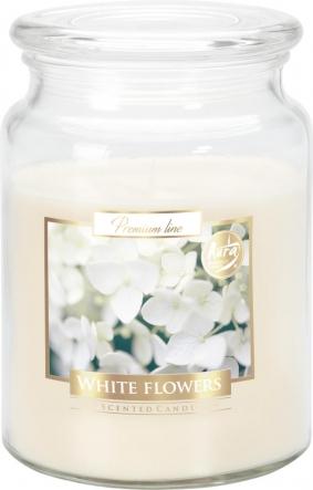 Duża świeca Białe Kwiaty w szkle z wieczkiem snd99-179