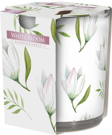 Świeca zapachowa Biały Rozkwit w prostym szkle z wzorem sn72s-42