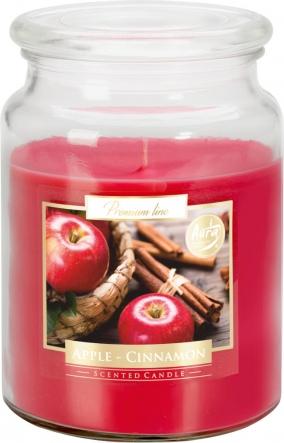 Duża świeca Jabłko - Cynamon w szkle z wieczkiem snd99-87