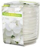 Świeca zapachowa w karbowanym szkle Kremowy Białe kwiaty snw80-1-179