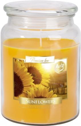 Duża świeca Słoneczniki w szkle z wieczkiem snd99-330