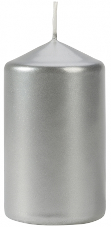 Świeca walec srebrny metalik sw60/100-271