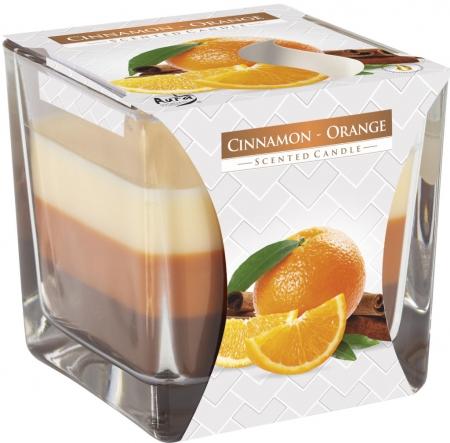 Świeca zapachowa trójkolorowa Cynamon-pomarańcza snk80-159